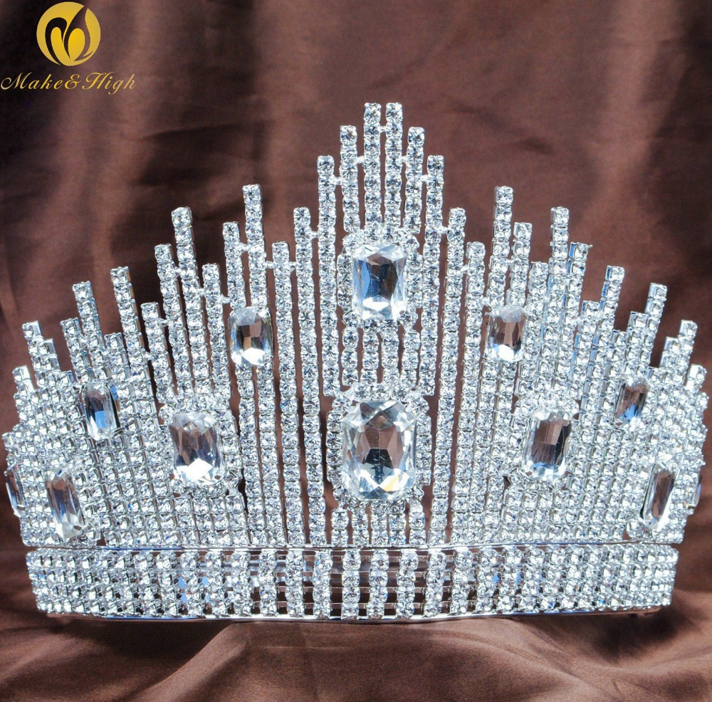 Fantastic Wedding Bridal Tiara Miss Beauty Pageant Crown Clear Rhinestones Crystals Large Headband Hair Jewelry oakley повязка clear view headband copper 1154441