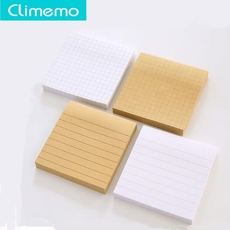 1set/80 Sheets Kraft Memo Pad Sticky Notes,  Post It Notes, Cute Memo Pads,  Memo Sheets Horizontal Line Check 7.5*7.5*1.1cm
