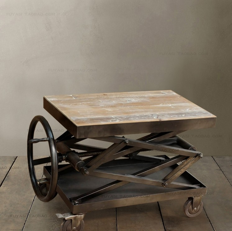 Great Retro Old Style Wheel Lift Industrial Metal Wood Coffee Table Special  Manufacturing Free Shipping In Coffee