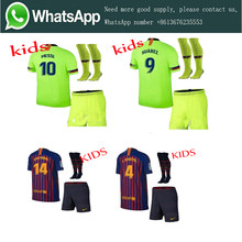 Selling 2019 Barcelonaes Home away Kids suit + socks Jerseys 2018 2019 child best quality Football shirt. Free shipping(China)