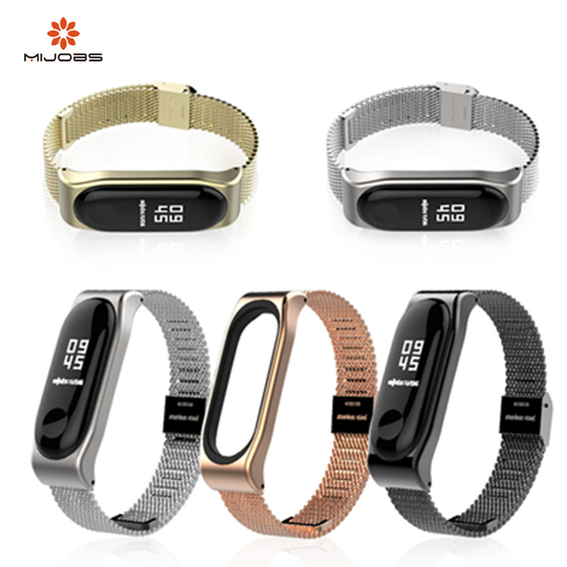 New Mijobs Mi Band 3 Metal Strap Band Wristbands Stainless Screwless Steel Bracelet xiomi MiBand 3 Replace For xiaomi Mi Band 3