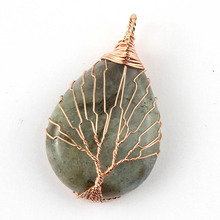 Kraft-beads Trendy Rose Gold Color Tree Life Water Drop Pendant Labradorite Stone Pendant Handmade Wire Wrapped Jewelry