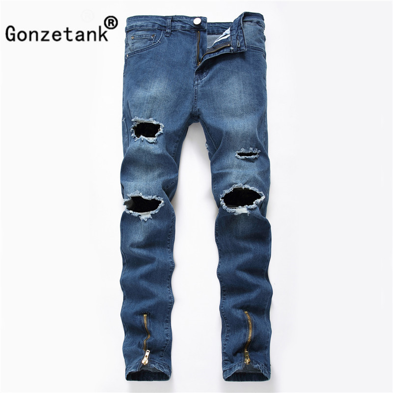 Gonzetank 2017 Zipper Broken Elasticity Blue Jeans for Men Classical and Straight Boyfriend Narrow for Middle Waisted Size 27~40