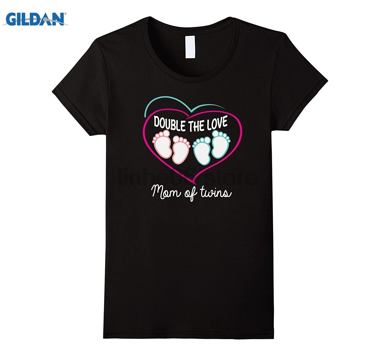 Возьмите Для женщин мама близнецов футболка двойной любовь. Для мальчиков и девочек близнецов Mama Для женщин футболка