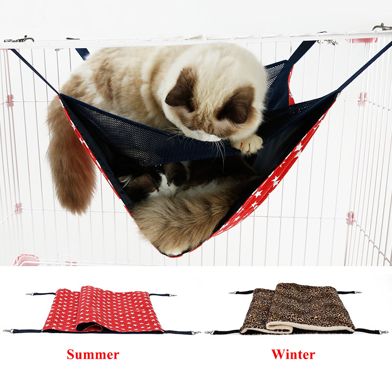High Quality Summer Breathable Double Layer Cat Hammock New Winter Thick Warm Pet Hanging Bed Double Layer Swing MatHigh Quality Summer Breathable Double Layer Cat Hammock New Winter Thick Warm Pet Hanging Bed Double Layer Swing Mat