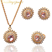 DAZZLING YANG'S Hot Sell 18k Gold Plated  Austrian Crystal Sunflower Pendant Necklace Earring Ring Jewelry Sets For Women