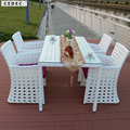 5 unid Patio muebles de la rota Patio trasero exterior larga mesa de comedor cuadrada y 4 sillas blanco con el amortiguador
