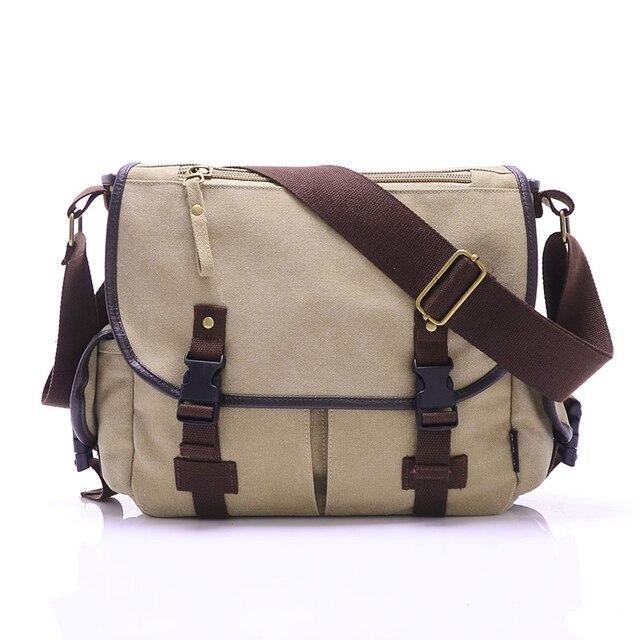 High Quality Canvas Bag Men's solid cover zipper casual shoulder school bags men crossbody bag Men Messenger Bags 2