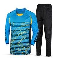Survetement Football 2017 Men Football Goalkeeper Jersey Long Sleeve Football Training Suit Sponge Soccer Goalie Jersey