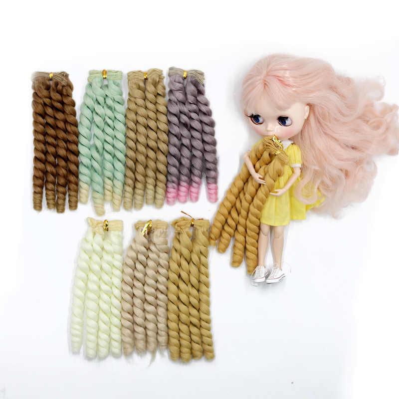 Msiredoll bjd peluca accesorios 1 pieza 20*100 CM pelo de muñeca para 1/3 1/4 1/6 1/12 Color degradado rizado bjd pelucas diy envío gratis