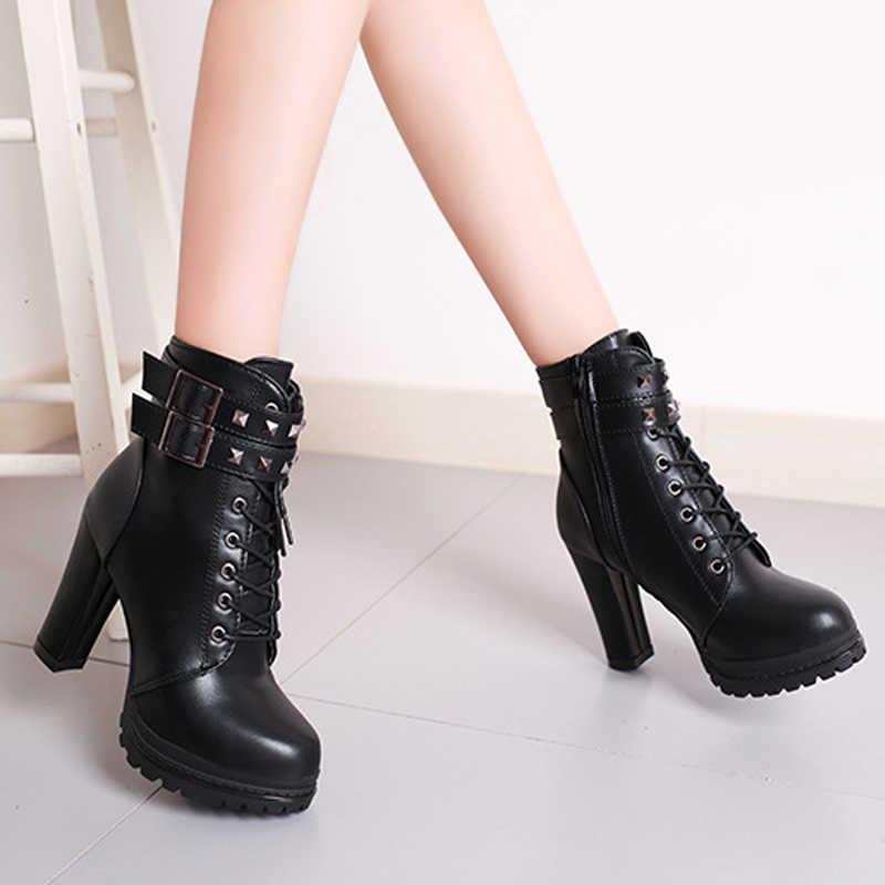 Женские ботильоны на платформе и высоком каблуке со шнуровкой; женские ботинки на молнии, не сужающемся книзу массивном каблуке; коллекция 2018 года; обувь в стиле панк с заклепками и пряжкой; Mujer; однотонная модная обувь