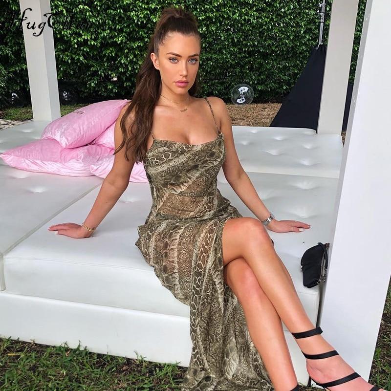 Hugcitar Mesh See Through Snake Print Sexy Slit Floor Length Slip Maxi Dress 2019 Summer Spaghetti Straps Elegant Dress