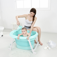 New Kids Large Folding Baby Bathtub Thickened Vertical Bath Bucket Baby Tubs For Free Gift