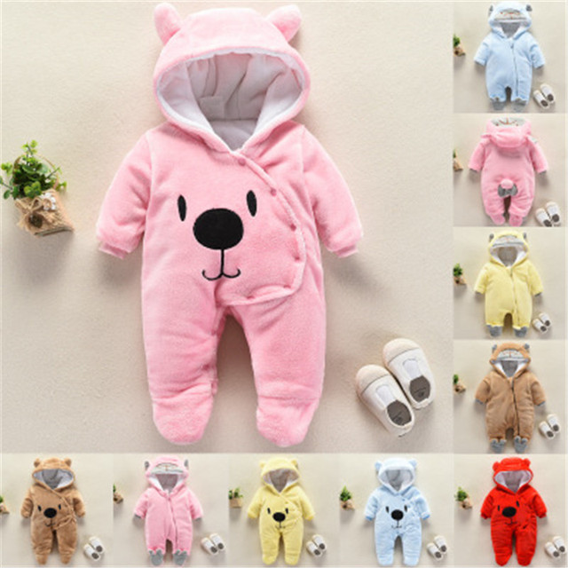 Newborn Baby Boys Girls Hooded Crawling Clothes Babies Winter Long Sleeve Rompers Kids Clothes Romper Jumpsuit Thick Body Suit