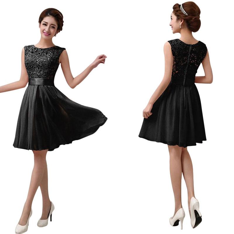 Women Summer Dress Sleeveless Lace Bridesmaid Wear Short Female