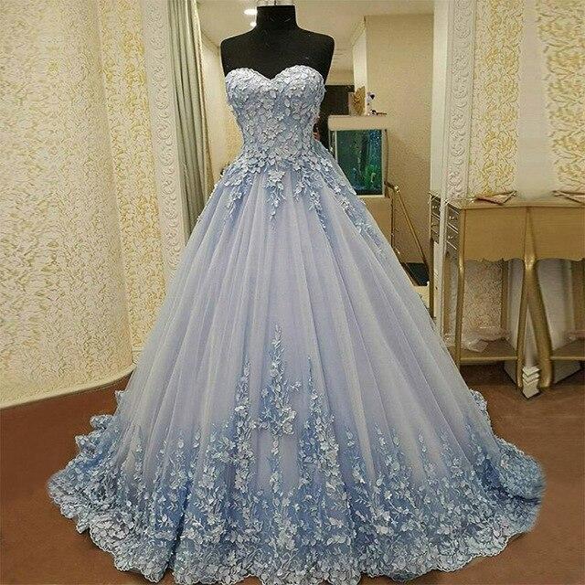 Trouwjurk Lichtblauw.Vestidos De Novia Lichtblauw Trouwjurken Romantische Kant Applique