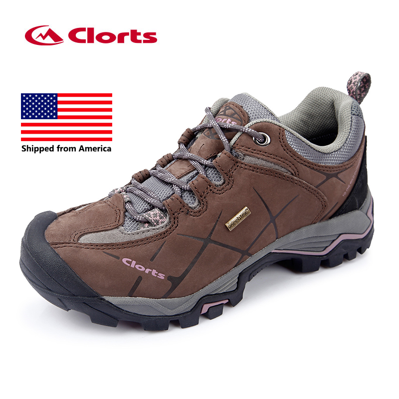 Shipped From USA Clorts Women Hiking Shoes Leather Non-slip Outdoor Trekking Shoes Waterproof Sport Sneakers HKL-805C clorts men trekking shoes 2016 waterproof breathable outdoor shoes non slip hiking boots sport sneakers 3d028