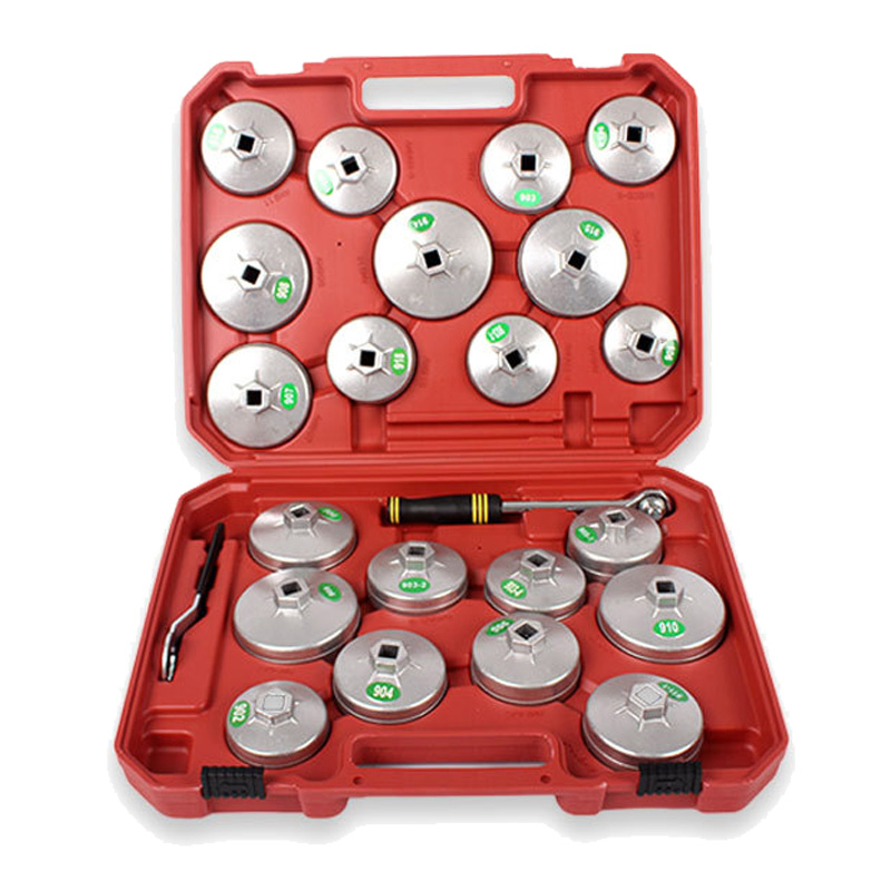 23pc Aluminum Alloy Cup Type Oil Filter Cap Wrench Socket Removal Set Auto Maintenance Tools Oil Core Wrench Kit DN181 two way oil filter wrench tool with 3 jaw extra long engine valve stem seal removal pliers tool auto vehicle car repairs tools