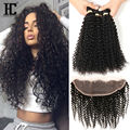 8A 13x4 Ear To Ear Lace Frontal Closure With Bundles Malaysian Curly Human Hair 4 Bundles With Full Lace Frontal Closure HC Hair