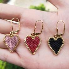 FAIRYWOO Vintage Big Heart Earring Luxury Miyuki Jewelry Woman Friendship Drop Earrings Rose golden Sweet Delica Gifts For Girls