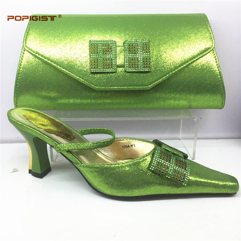 Latest Italian Shoes with Matching Bags Set Decorated with Rhinestone Nigeria Wedding Shoes and Bags Set