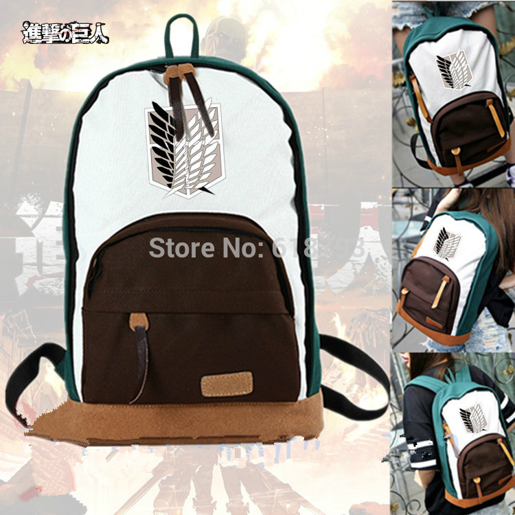 2016 new fashion backpacks anime Attack on titan cosplay daily bag Cartoon travel bags AB196 woman man wallet new fashion cartoon anime student purse chopper totoro naruto conan edgar attack on titan cool brown billfold