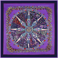 100 Silk Euro Brand Style Women HOT Pepper Compass Rose Circle 130cm 130cm Silk Square Scarf