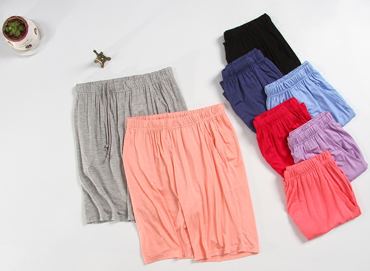 Pyjama trousers women shorts modal cotton solid plus size thin loose lounge elastic knee length sleep short summer