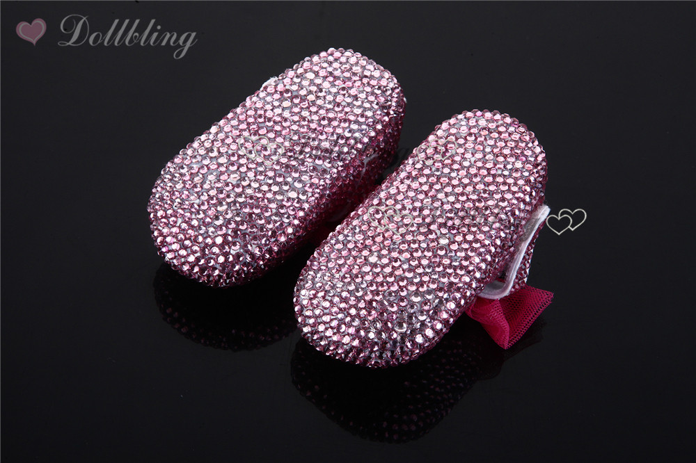 44e3fcd7d5d98 Christams Bling Little Girl Pink Rhinestones Custom handmade crystal baby  shoes 0 1Y Newborn Fancy First Walkers Free Shipping -in First Walkers from  ...