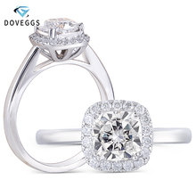 DovEggs 10K White Gold Center 1ct 6mm Cushion Cut F Color Moissanite Halo Engagement Ring for Women Wedding Gift