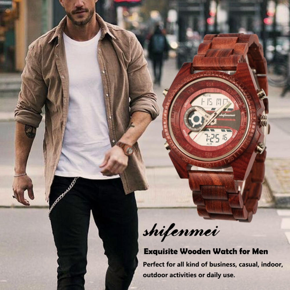top luxury brand Shifenmei 2139 Antique Mens Zebra and Ebony Wood Watches with Double Display Business Watch in Wooden digital quartz watch drop shipping 2019 (9)