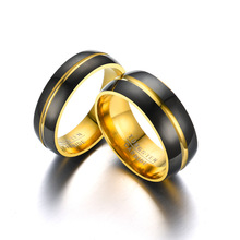 Couple Jewelry 6mm 8mm Tungsten Steel Carbide Ring Plated Black Gold Intermediate Groove Wedding Band for Men Women