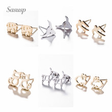 Sasusp Fashion Bull Elephant Cat Rabbit Sheep Stud Earrings For Women Simple Swallow Stainless Steel Tiny Earrings 2019 недорго, оригинальная цена