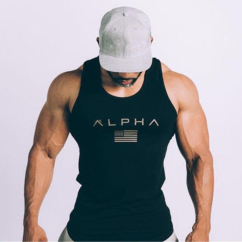 Tanque de Fitness Tops Para O Sexo Masculino de Algodão T-shirt Sem Mangas  Academias 5c6b695a222