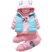 Baby Clothes Set Cartoon Cotton Warm Suit Baby Girls Boys Infant Winter Velvet Thicken Clothing Set 3 Pieces