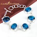 Newest Christmas Big Sales!! Fashion London Blue Crystal Charm Silver Bracelet for Unisex Hot Pulseiras Femininas Bijoux