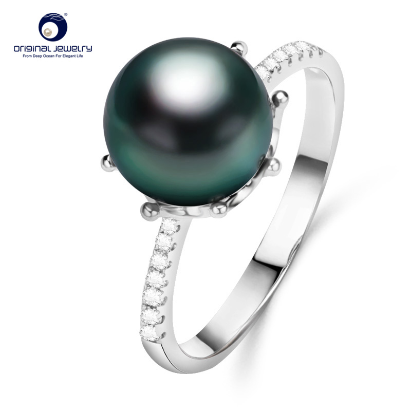 YS Crown Design Ring 925 Sterling Silver 8 9mm Natural Black Tahitian Cultured Pearl Ring