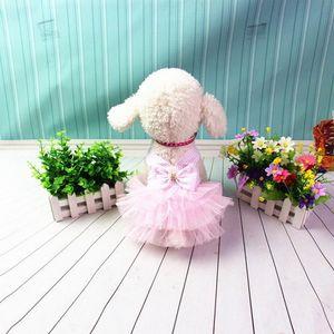 Image 4 - Vestido de verão para cachorros, com renda tule, roupas para cachorros, festas, aniversário, casamento, vestido com laço, primavera, fantasias para animais de estimação roupas