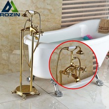 Freestanding Bathroom Tub Spout Faucet Dual Handlesd Bathtub Mixer Taps Floor mounted