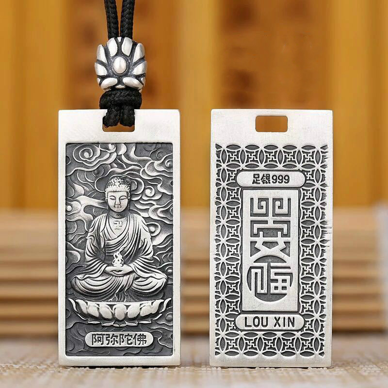 999 Sterling Silver Buddha Pendants Necklace Vintage Chinese Zodiac God Pendant Necklace Men Women Lucky natural green buddha a buddism buddha pendant saint cut the life of buddha zodiac men and women necklace will day jade emerald