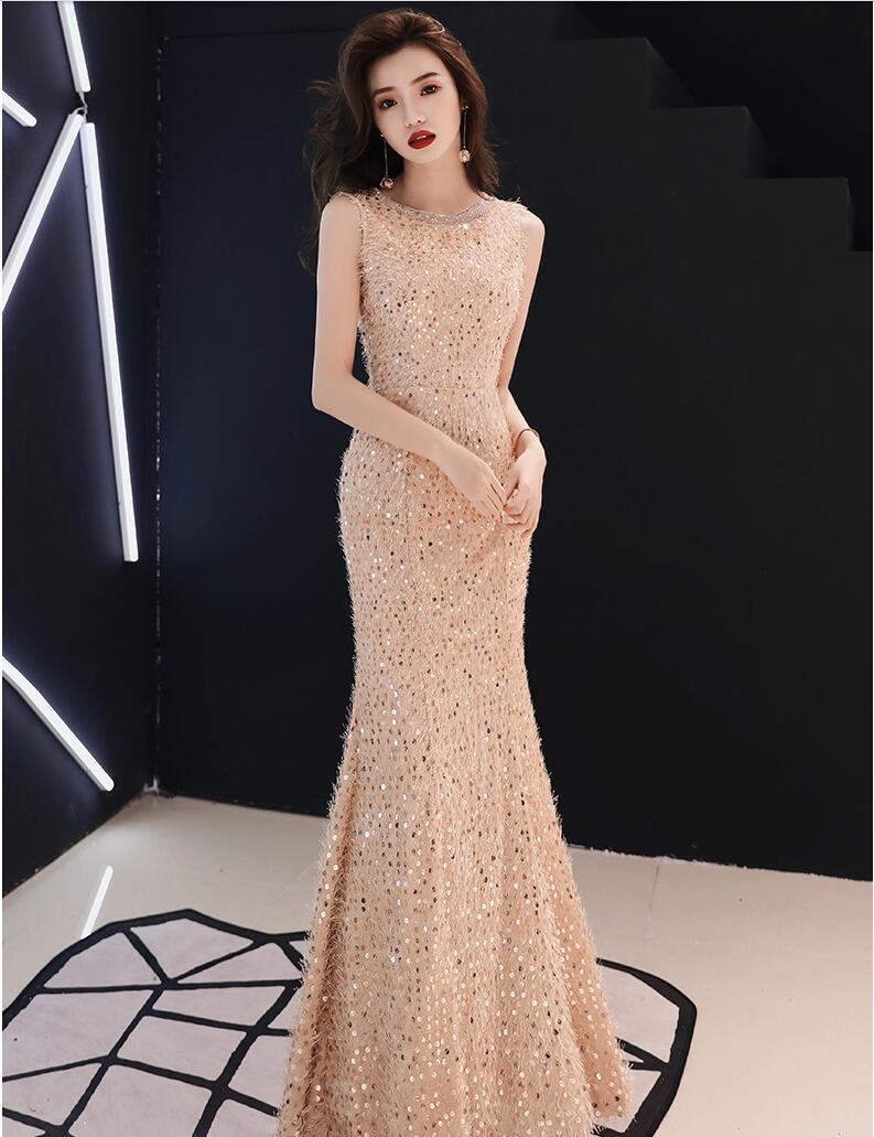 Sequin   evening     dress   mermaid 2019 long glaring graduation   dress   Prom   dress   2018 student graduation party   dress   vestido de festa