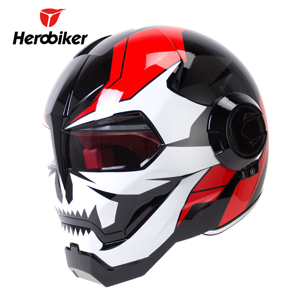 HEROBIKER Motorcycle Helmet Vintage Retro Cruiser Chopper Cafe Racer Capacetes Moto Motorbike Full Face In Helmets From Automobiles