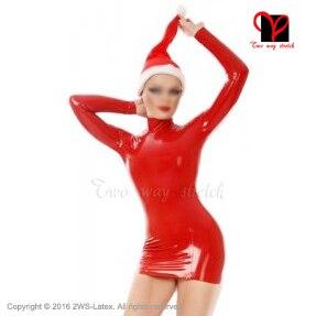 e9ea64254a8697 € 107.04  Sexy noël crayon Latex robe Santa hat caoutchouc Bandeau moulante  courte minijupe Bustier au dessus du genou combishort grande taille QZ ...