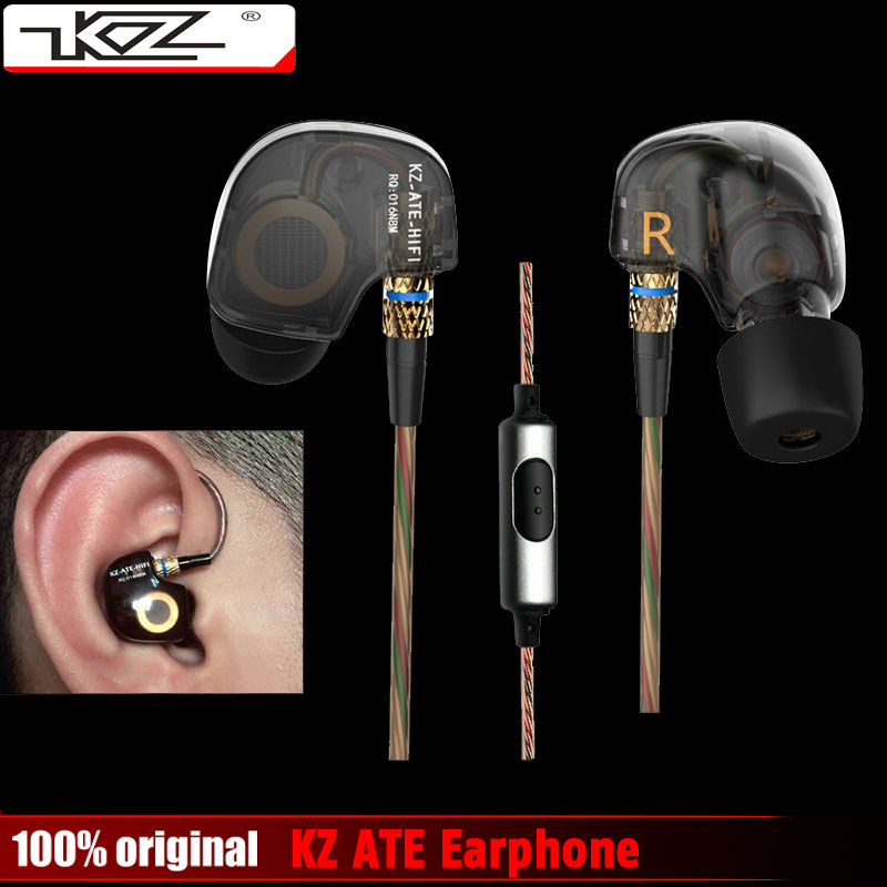 Original KZ ATE Copper Driver Ear In Ear Sport Earphone For Running With Foam Eartips With Microphone or Without Microphone kz ates ate atr hd9 copper driver hifi sport headphones in ear earphone for running with microphone game headset