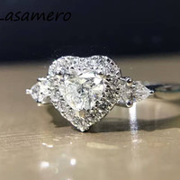 LASAMERO 링 0.414CT 18 천개 화이트 골드 사랑 심장 디자인 인증 천연 다이아몬드 반지 약혼 결혼 반지
