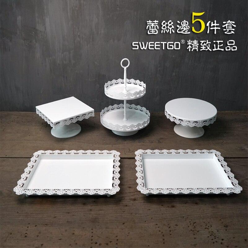 1 комплект/5 шт. наборы свадебных тортов с кружевным узором (в комплект входят 2 лотка + 1 2 ярусная подставка + 1 квадратная пластина + 1 круглая п