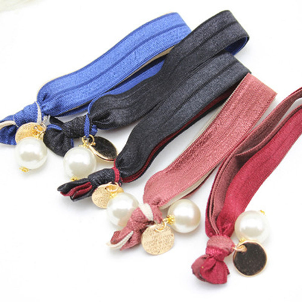 Wholesale Korean Hair Accessories High Elastic Wide Pearl Pendant Double Knotted Ponytail Hair Ring Tousheng Women Rope