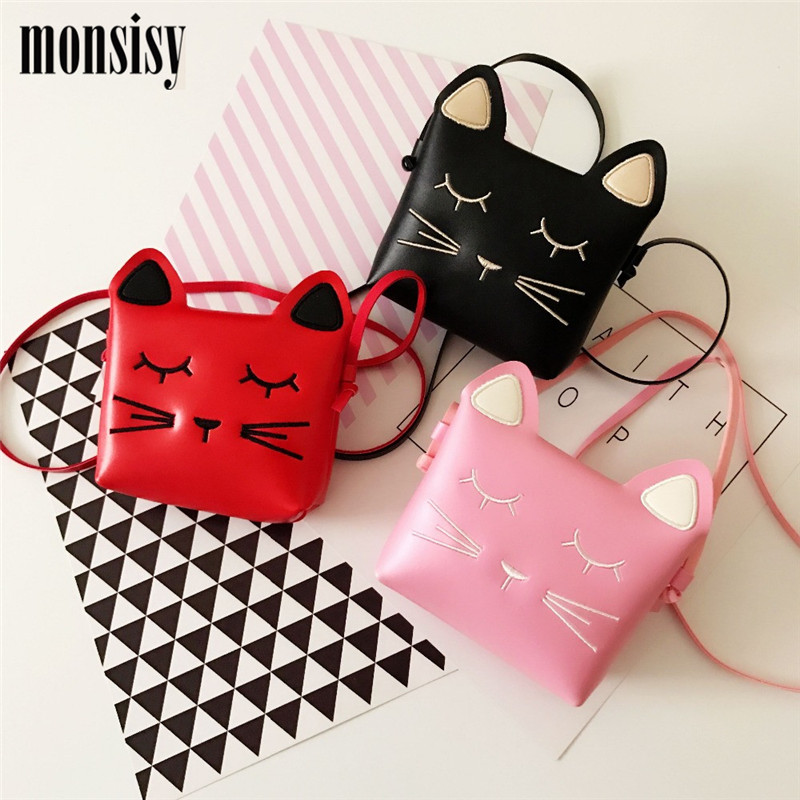 Monsisy Unisex Baby Cat Bag For Girl Boys Handbag Children Wallet Cartoon Cat Coin Purses Kids Shoulder Bags Toddler Small Bags