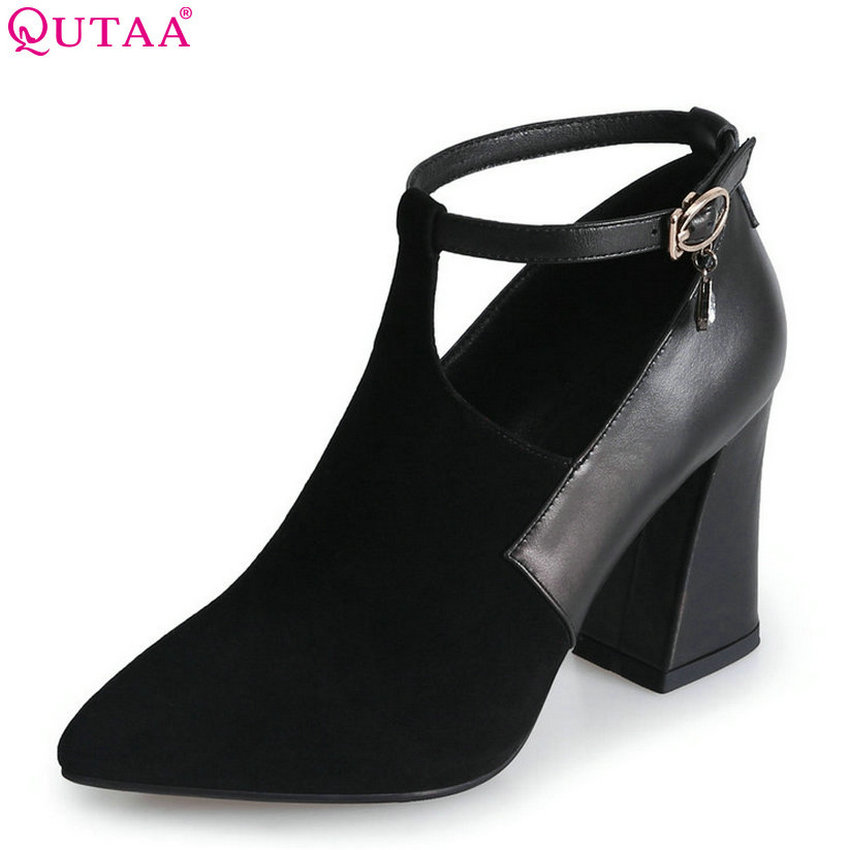 QUTAA 2018 Women Pumps Fashion Women Shoes Buckle Strap Pointed Toe Square High Heel Classic Spring Women Pumps Szie 34-39 amourplato women s fashion pointed toe high heel sandals crisscross strap pumps pointy dress shoes black purple size5 13