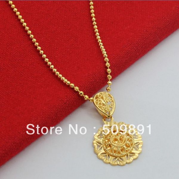 Alibaba aliexpress nec1509 fashion 24k gold colou chic sun pendant necklaces for women men jewelry accessorieswith 3mm beads mozeypictures Gallery
